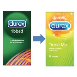 Durex Tickle Me 3 db bordázott óvszer