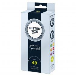 Mister Size 49. - 10 db egyedi méretű, extra vékony óvszer (49 mm)