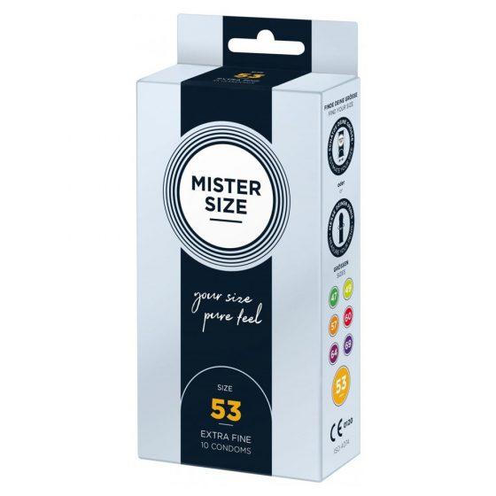 Mister Size 53. - 10 db egyedi méretű, extra vékony óvszer (53 mm)