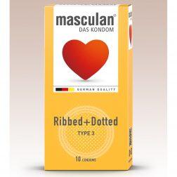 Masculan Ribbed+Dotted redőzött, rücskös felületű óvszer (10 db)