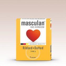 Masculan Ribbed+Dotted redőzött, rücskös felületű óvszer (3 db)