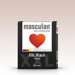 Masculan XXL fekete színű, kissé nagyobb méretű óvszer (3 db)